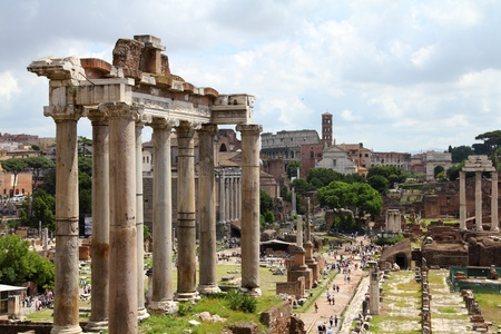 roman columns: Rome, Italy. One of the most famous landmarks in the world - Roman Forum.