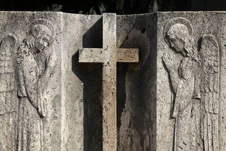 Milan, Italy. Old grave at the Monumental Cemetery (Cimitero Monumentale). Religious art. photo