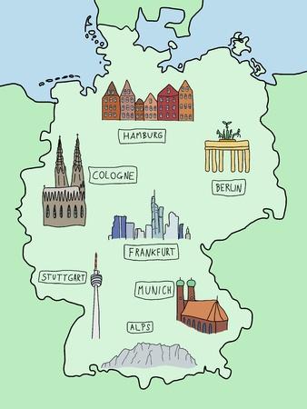 m�nchen: Duitsland - bekende plaatsen op een kaart van doodle: Berlijn, Hamburg, Keulen, Frankfurt, Stuttgart, München en de Alpen. Kleurenversie.