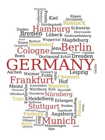 deutschland karte: Deutschland - machte der Umriß von Städtenamen. Deutscher Konzept.