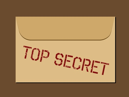 Top secret document in envelope. Rubber stamp - grungy illustration with text Top Secret. Stock Vector - 9668248