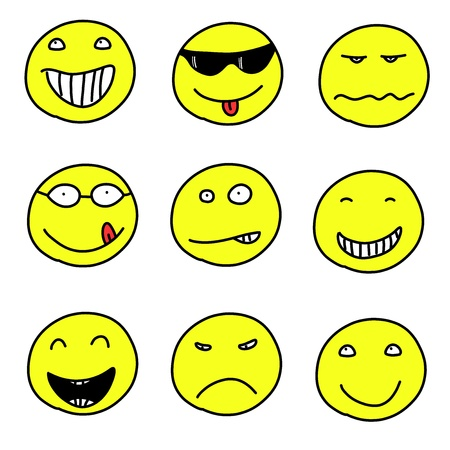 ansikten: Smiley faces - doodle emoticon expressions. Happy, sad and confused balls. Vector version is easily editable. Illustration
