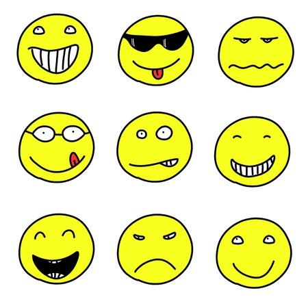 gesichter: Smiley-Gesichter - doodle Emoticon-Ausdr�cke. Gl�cklich, traurig und verwirrt B�lle. Vektor-Version kann leicht bearbeitet werden.