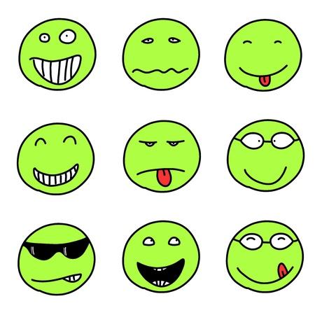 happy sad: Faccine - doodle espressioni emoticon. Palle felice, triste e confusi. Vector version � facilmente modificabile.