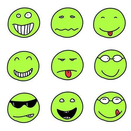 funny faces: Smiley faces - doodle emoticon expressions. Happy, sad and confused balls. Vector version is easily editable. Illustration