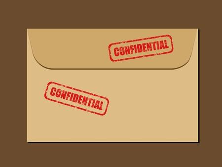governmental: Documento secreto superior en sobres. Sello de goma - grungy ilustraci�n con texto confidencial.