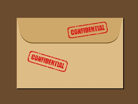 Top secret document in envelope. Rubber stamp - grungy illustration with text Confidential. Vector