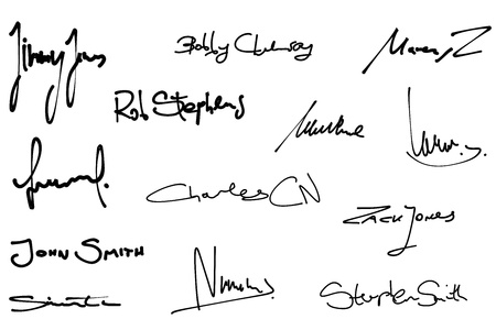 Signature set - collection of fictitious contract signatures. Business autograph illustration.