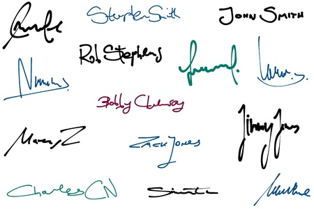 autograph: Signature set - collection of fictitious contract signatures. Business autograph illustration.
