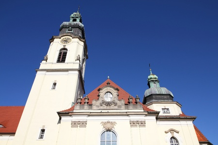 Poland - Bydgoszcz, city in Kuyavia (Kujawy) region. Baroque revival church of the Most Holy Heart of Jesus Christ. Stock Photo - 9668352
