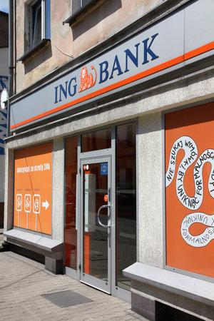 gory: TARNOWSKIE GORY - 25 maggio: Ingresso ING Bank il 25 maggio 2011 in Tarnowskie Gory, Polonia. La banca � di propriet� di ING Group, il pi� grande gruppo finanziario in tutto il mondo (da ricavi). Editoriali