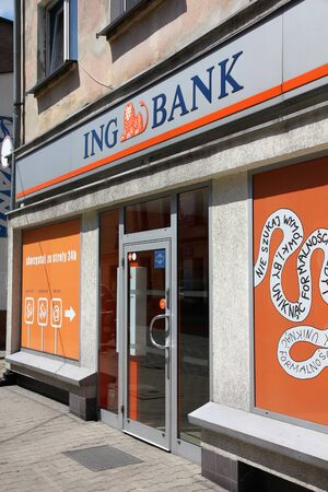 ing: TARNOWSKIE GORY - MAY 25: ING Bank entrance on May 25, 2011 in Tarnowskie Gory, Poland. The bank is owned by ING Group, largest financial group worldwide (by revenue).