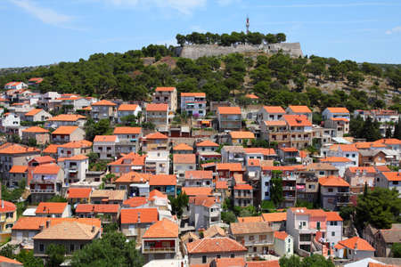 Croatia - Sibenik in Dalmatia. Mediterranean cityscape with fortress. Stock Photo - 9960452