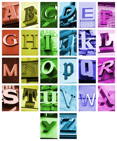 architecture alphabet: Urban ABC - alphabet collage. Colorful letters font from urban buildings.