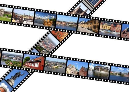diaporama: Illustration - bandes de film avec des souvenirs de voyage. Stockholm, Su�de. Toutes les photos prises par moi, disponibles aussi s�par�ment. Banque d'images