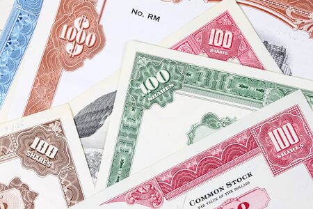 wallstreet: Stock market collectibles. Old stock share certificates from 1950s-1970s (United States). Vintage scripophily objects (obsolete).