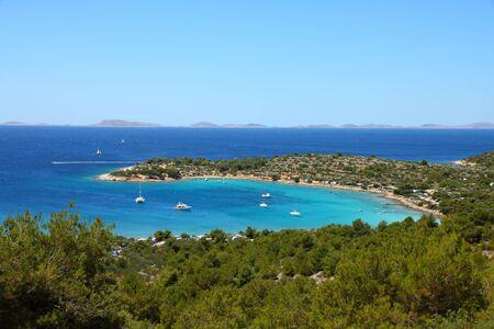 Croatia - beautiful Mediterranean coast landscape in Dalmatia. Murter island beach, Kosirina peninsula - Adriatic Sea. Kornati islands in background. Stock Photo - 9955866
