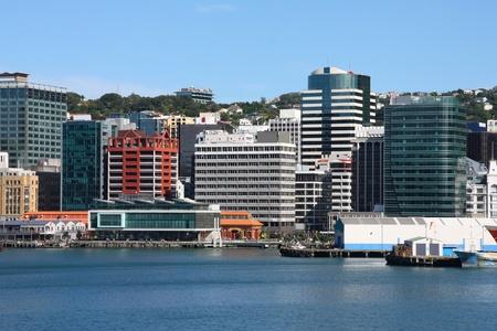 wellington: Wellington, New Zealand - skyscraper city skyline. Modern architecture. Stock Photo