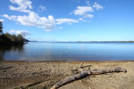 Beautiful Lake Taupo. New Zealand, North Island. Seen from Waihi Scenic Reserve. photo
