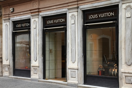ROME - MAY 12: Louis Vuitton luxury fashion boutique on May 12, 2010 in Rome. According to Millward Brown, LV is the most valuable luxury brand as of 2011 with value around USD $24bn.