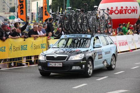 prestigious: KATOWICE, POLAND - AUGUST 2: Team vehicle on the route of Tour de Pologne bicycle race on August 2, 2011 in Katowice, Poland. TdP is part of prestigious UCI World Tour. Skoda Octavia of Saxo Bank-Sungard Team. Editorial