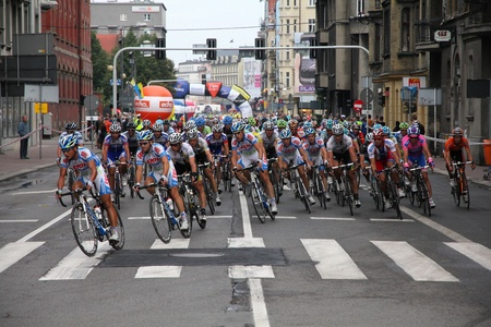 KATOWICE, POLAND - AUGUST 2: Cyclists at stage 3 of Tour de Pologne bicycle race on August 2, 2011 in Katowice, Poland. TdP is part of prestigious UCI World Tour.