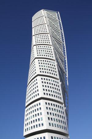 recognized: MALMO - MARCH 8: Turning Torso skyscraper on March 8, 2011 in Malmo, Sweden. Designed by Santiago Calatrava, it is the most recognized landmark of Malmo today.