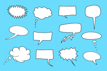 Comic speech bubbles set. Chat and thought illustration collection. Illustration