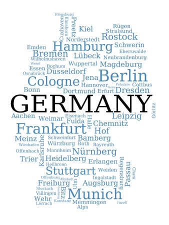 frankfurt: Germany - outline map made of city names. German concept.