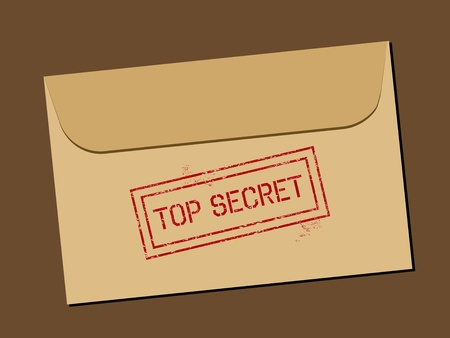 governmental: Top secret document in envelope. Rubber stamp - grungy illustration with text Top Secret.