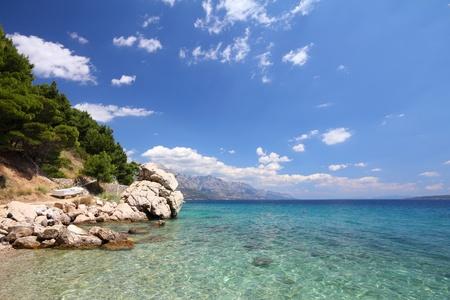 Croatia - beautiful Mediterranean coast landscape in Dalmatia. Marusici beach - Adriatic Sea (Makarska Riviera region).