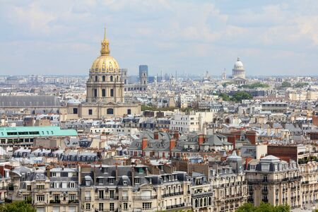 Paris, France - aerial city view with Invalides Palace and Pantheon. Stock Photo - 10341714