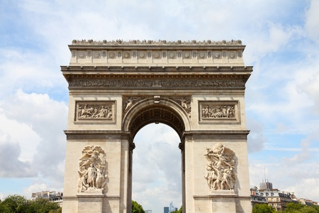 arc: Paris, France - famous Triumphal Arch (Arc de Triomphe) located at the end of Champs-Elysees street.  Stock Photo
