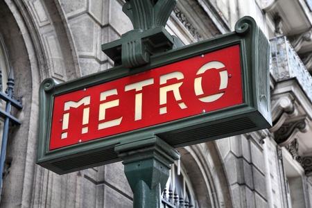 subway entrance: Paris, France - retro metro station sign. Subway train entrance.