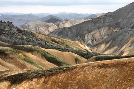 Iceland. Beautiful mountains. Famous volcanic area with rhyolite rocks - Landmannalaugar. photo