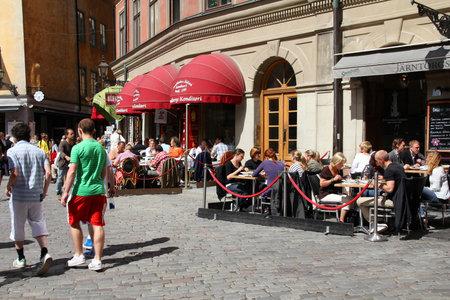 STOCKHOLM - JUNE 1: Jarntorget square view on June 1, 2010 in Stockholm, Sweden. Sundbergs confectionery at Jarntorget is famous as the oldest confectionery in Stockholm.