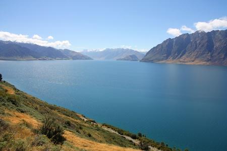 New Zealand - Lake Hawea. Otago district landscape.
