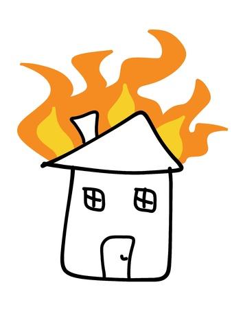 家の火の落書き。悲劇的な災害 - 保険金請求の概念。簡単な子供のような図。