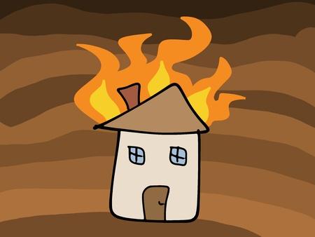 incendio casa: Doodle de incendio de la casa. Tr�gico desastre - seguros afirman concepto. Simple ilustraci�n infantil. Vectores