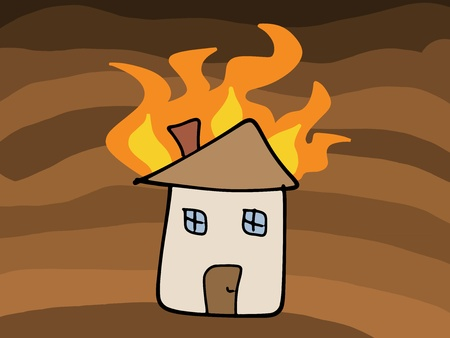 House fire doodle. Tragic disaster - insurance claim concept. Simple child-like illustration. Vector