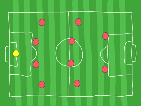 tactics: Soccer field - doodle drawing. Football tactics and strategy - popular 4-4-2 team formation. Illustration