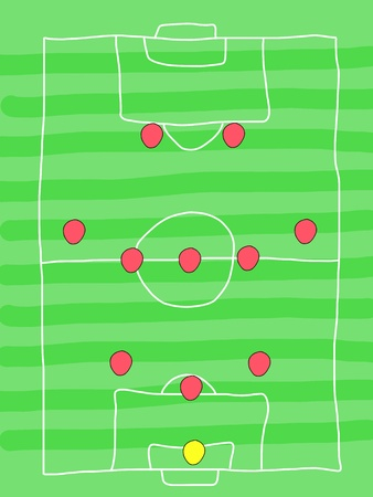 Soccer field - doodle drawing. Football tactics and strategy - popular 3-5-2 team formation.