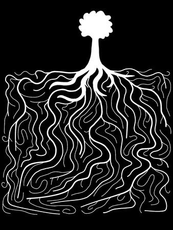 Doodle illustration - tree with gigantic root system. Nature complexity. Vector