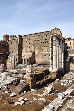 Rome, Italy. Ancient Roman ruins in Foro Traiano (Trajans Forum). photo