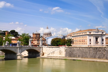 Rome, Italy. Cityscape with Saint Peters Basilica and river Tevere. photo