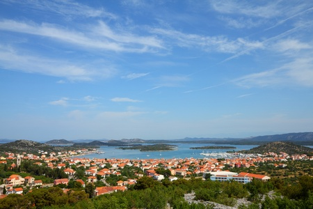 murter: Croatia - beautiful Mediterranean coast landscape in Dalmatia. Murter island Adriatic Sea view - town Murter.