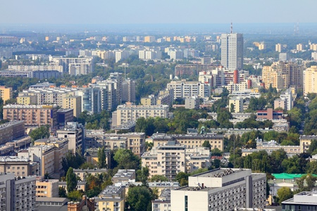 warsaw: Warsaw, Poland. View of modern architecture from famous Palace of Culture and Science, tallest building in Poland. Stock Photo