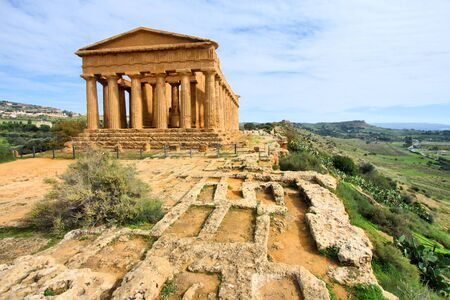 agrigento: Agrigento, Sicily island in Italy. Famous Valle dei Templi. Greek temple - remains of the Temple of Concordia.