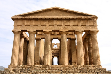 ancient greek: Agrigento, Sicily island in Italy. Famous Valle dei Templi. Greek temple - remains of the Temple of Concordia.