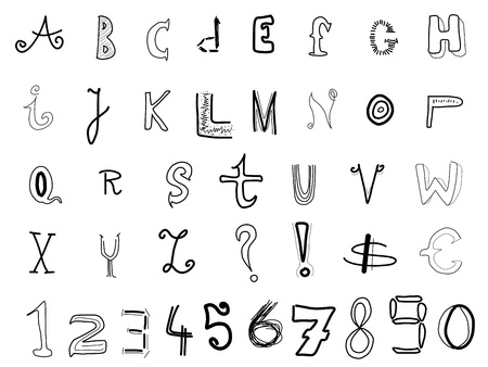 written text: Hand written alphabet - various doodle letters isolated on white background. Handwriting font illustration.